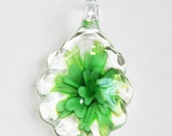 1 piece of  Green lampwork teardrop pendant 48x29mm