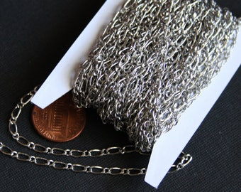 32ft of  antique silver chain plated brass Figaro chain  soldered links