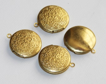 4 pcs of solid brass flat round Locket Pendant 20mm