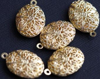 5 pcs of Gold plated filigree Oval Locket Pendant 24x16mm