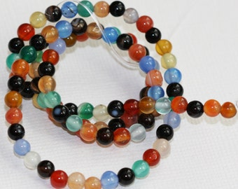 2 strands of Mulit color Natural agate smooth round beads 4mm