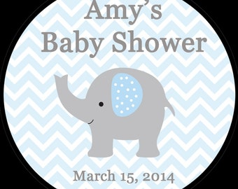 "30 Personalized Baby Shower 1.5""  Inch Stickers   -   BLUE Elephant"
