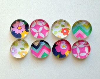 Sunny Days - set of 8 glass magnets