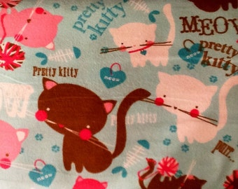 SALE....PRETTY KITTY Flannel Pajama/Lounge Pants  Available in children's sizes 0-3 to 4t