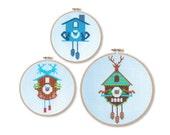 Teal Cuckoo Clocks Cross Stitch Pattern Instant Download