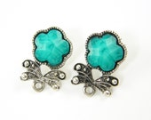 Pair of Green Flower Earring Posts Antique Silver Stud Earring Finding with Loop |GR8-15|2