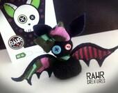 Black, Purple, Aqua Sock Bat with Adoption Kit and DIY Paper Coffin Bat House