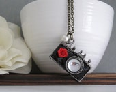 Retro Vintage Style Camera Pendant With Red Rose Bud Flower White Swarovski pearl Long Necklace