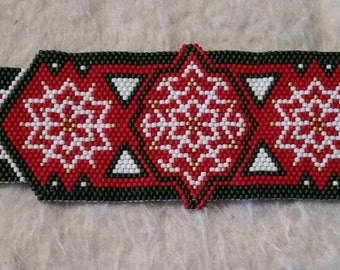 Christmas Snow Flake Bracelet, Red, Green, Gold
