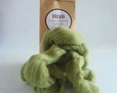Soft green merino roving, 25g (1oz) Herb, 21 micron, merino roving,  merino tops, felting wool, needle felting, wet felting