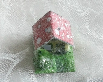Vintage Putz Style Tiny Miniature Hobbit Woodland Glitter Sugar House Shabby Christmas Village Tree Ornament