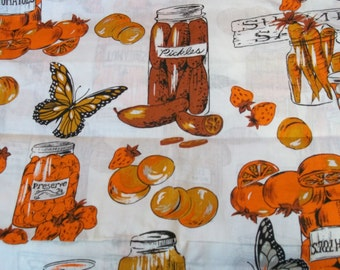 Vintage 60s 4 yd x 45w Retro Cotton Blend Kitchen Canning Fruit and Veggies Butterflies Orange Brown Gold Tablecloth Curtian Apron Fabric