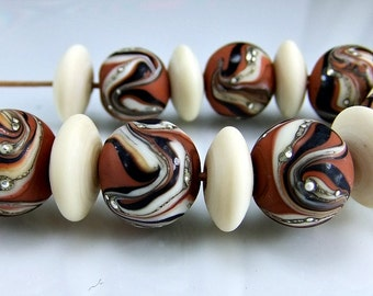 Etched Dark Clay Black  Ivory Silver Round Organic Lampwork Beads Set SRA Glass Beads