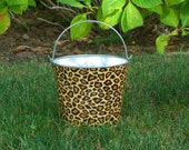 Metal Galvanized Pail Fabric Covered Leapord Print