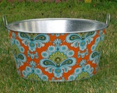 Amy Butlers Tangerine Orange French Wallpaper Fabric Covered Large Round Galvanized Party Tub