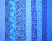 BLUE PRINTS 100% cotton Prewashed, twelve  2.5 inch wide,  Quilt Fabric Strips for Jelly Roll (stk#54)