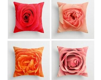 Set Of Four Rose Pillow Covers Natural History Lovely Things Rose Pillows Garden Art Botany Pink Rose Red Rose Orange Rose Purple Rose