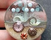 Lampwork Glass Bead 051 Focal (1) Ocean Waves, Sea, Water Pink