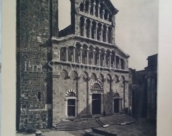 antique Italian Rotogravure Photo Illustration To Frame Cagliari La Cattedrale 1920s