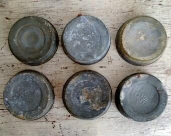 six vintage zinc with milk glass liners canning jar lids