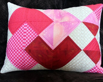 Quilted Patchwork Pillow - Heart Trick