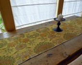 20% Sale, Coupon Code 47474.  Elegant Floral Tapestry Table Runner In Shades of Gold