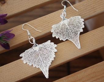 Silver Leaf Earrings, Cottonwood Leaf, Heart Shaped Earrings, Real Leaf Earrings, Cottonwood, Sterling Silver, Nature, LESM98
