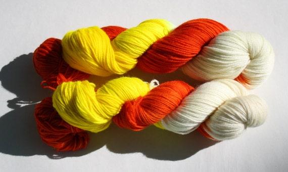 Candy Corn Hand Dyed Sock Yarn