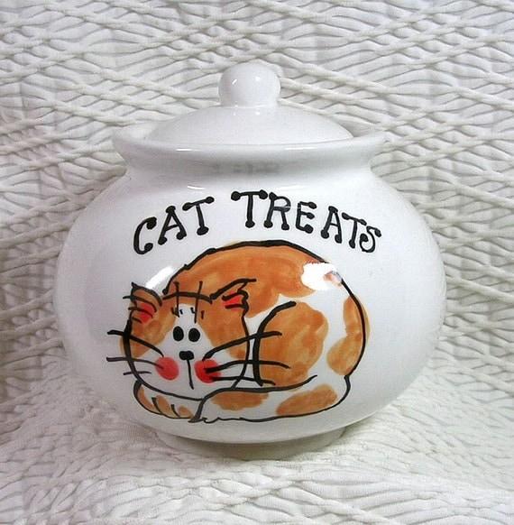 Cat Treat Jar Ginger Amp White Cat Ceramic Holder With Lid