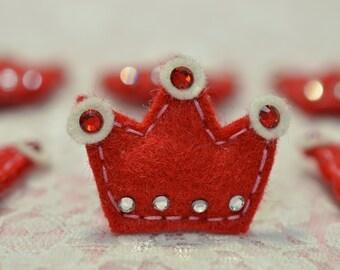Set of 6pcs handmade puffy felt crown--devil red (FT2151so)