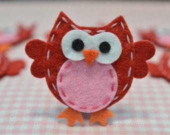 Set of 6pcs handmade felt owl--red/baby pink (FT932)