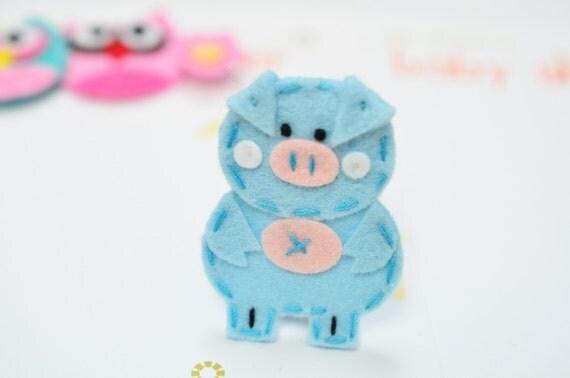 Set of 4pcs handmade felt pig--aspen blue (FT842)