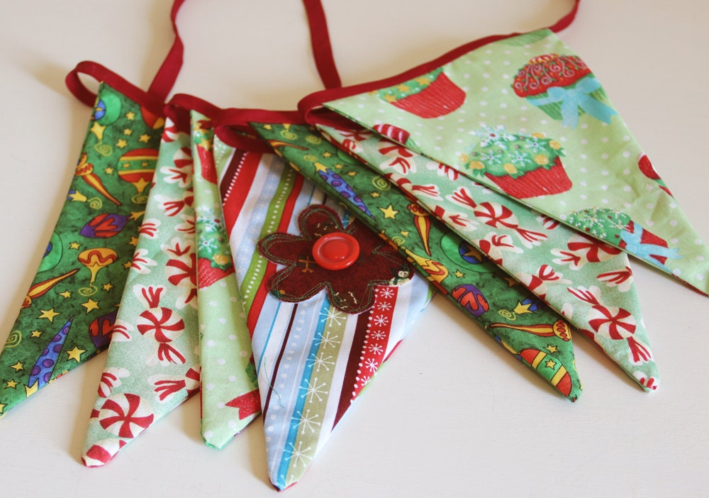 Christmas Fabric Bunting Banner Fabric Bunting Pennant