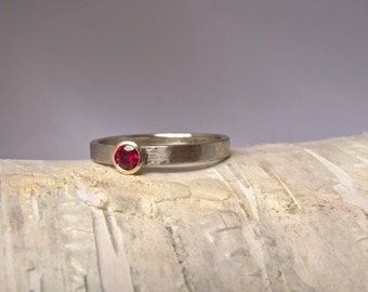 Ruby Yellow and White Gold Wedding Band- Engagement Ring- Hammered Texture- Simple Modern- Two Tone- Low Profile- Bridal Jewelry