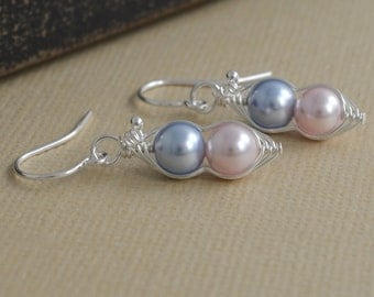 2 sweet peas in a pod Itty Bitty sterling silver earrings for brides, bridesmaid, family, sisters, best friends, and mothers