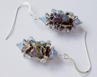 Blackberries sterling silver glass earrings opal blue purple drop dangle lampwork beads flower floral shabby cottage country chic for women
