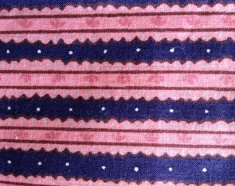 Over 2 Yards of Vintage Pink and Navy Blue Stripe Cotton Fabric from Indeco