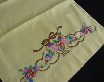 Pair of Vintage Butter Yellow Pillowcases with Hand Embroidery Flower Basket