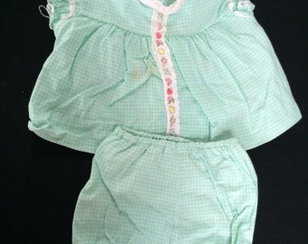 Vintage 18 - 25 Pounds Green and White Dress and Pantaloons with Plastic Insert