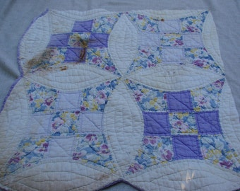Vintage Hand Quilted Improved Nine Patch Cutter Quilt Piece with Purple Backing