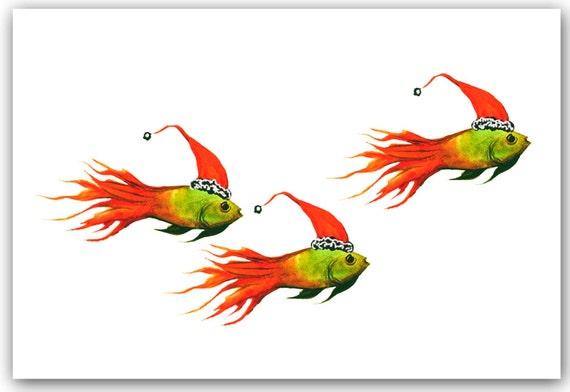 Christmas fish cards original artwork 10 per box greeted for Christmas fish starters