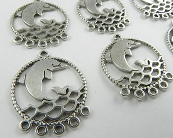 12 Dolphin Chandelier Link Charm Pendant in Antique Silver