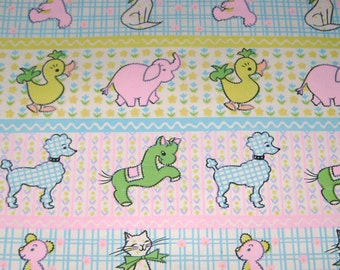 Vintage Baby Wrapping Paper or Gift Wrap with Animals Ducks Elephants Cats Bears Poodles Horses Plaid Gingham Flowers