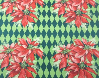 Vintage Christmas Wrapping Paper or Gift Wrap with Red Poinsettias and Green Diamonds