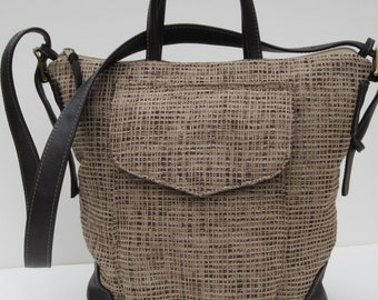 TOTE BAG Fabric with LEATHER  Woven Chenille