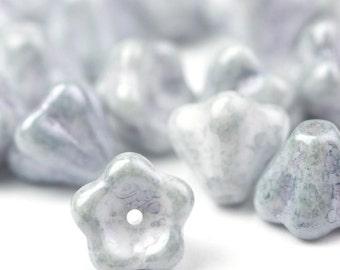 Czech Glass Beads Bell Flowers 8x6mm Ultra Luster Transparent Blue (25) CZP542