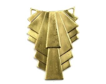 Ornate Art Deco Swag Geometric Pendant Charm Raw Brass (1) CP226