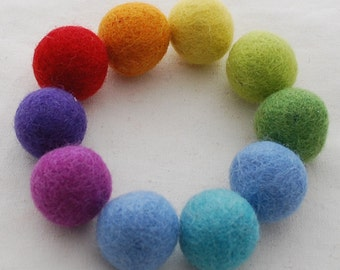 100% Wool Felt Balls - 2.5cm - 30 Count - Rainbow Colors