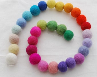 100% Wool Felt Balls - 30 Count - 2cm - Assorted Light and Bright Colors