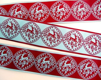REVERSIBLE LEAPING DEER Jacquard trim in wine red and aqua. 1 1/2 inch wide. 985-a